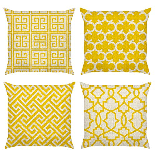Bonhause Yellow Modern Geometric Cushion Covers 18 x 18 Inch Set of 4 Decorative Throw Pillow Covers Cotton Linen Square Pillowcases for Sofa Couch Car Bedroom Indoor Outdoor Decor, 45cm x 45cm