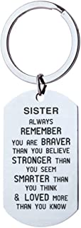 Sister Gifts from Sister Keychain, Remember You are Braver Than You Believe Christmas Birthday Gifts for Sister from Brother