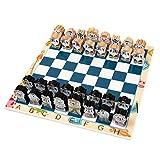GPWDSN Juego de Tablero de ajedrez, Juego de ajedrez de Madera de ajedrez de Dibujos Animados, Piezas de ajedrez de Madera Maciza Internacional, Juguete, Entretenimiento Infantil, Juegos de Mesa de
