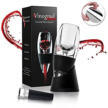 Red Wine Aerator Decanter Set with DOUBLE BONUS Wine Accessories - Wine Pourer Drop Stopper and Wine Vacuum Stopper - Wine Gift Box Set for Wine Lovers, Women, Men by Vinograd