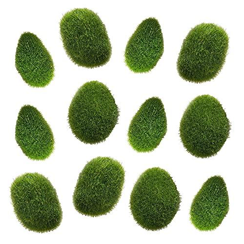 Swetup 12 stücke künstliche Moos-Steine, Moossteine Mooskugel Dekorative Mooskugeln Grüne Moosbälle Simulation Moos, 3 Größe 3x5cm, 4x5cm, 5x6cm für Blumentopf, Garten, Terrarien, Topfpflanzen Deko