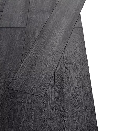 Tidyard Juego de Suelos de Vinilo de PVC 18 Lamas para Cocinas Baños Salones,Imitan la Madera Natural,Resistentes y Antideslizantes,5,26 m² Negro y Blanco