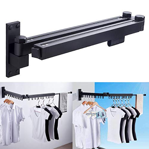 lehom Wall Mounted Folding Clothes Hanger Space-Saver IndoorOutdoor Adjustable Clothes Drying Rack 220 LBS Retractable Dry Coat Hanger for Laundry Room Storage Organiser Instant ClosetBlack