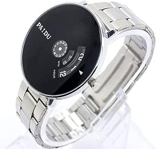 Mens Wrist Watches, Quartz PAIDU Silver Band Black Turntable Dial Bracelet Watch, Novel Watch Gift