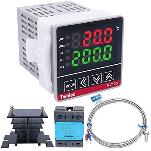 "Twidec/Digital Display PID Temperature Controllers Thermostat ℉ ℃ Regulator AC 85V - 265V + 1/4"" K Sensor Thermocouple + Black Heat Sink and Solid State Relay SSR TH-40 DA MV100-B11-TH40"