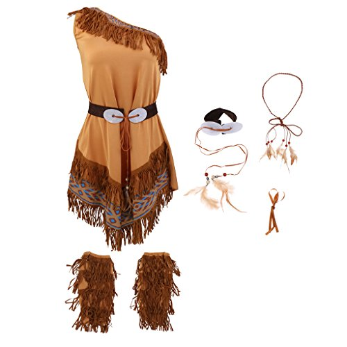 PETSOLA Disfraz Indio De Tribu Nativa Americana Disfraz Indio Femenino - M