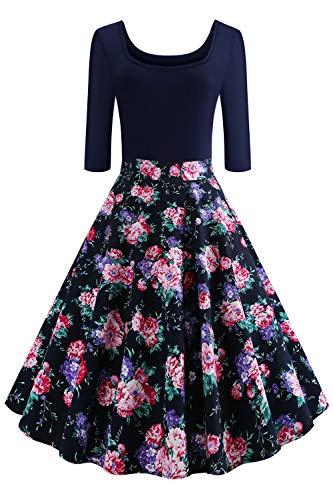 Axoe Damen A-Linie Kleid 60er Jahre Rockabilly mit Blumenrock 3/4 Ärmel Gr.36, Farbe 11, S (36 EU)