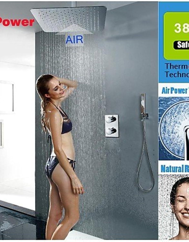 WSS Duscharmaturen - Zeitgenssisch - Thermostatische   Regendusche   Handdusche inklusive - Messing (Chrom)