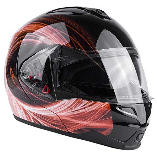 Typhoon G339 Modular Motorcycle Helmet DOT Dual Visor Full Face Flip-up - Orange XXL