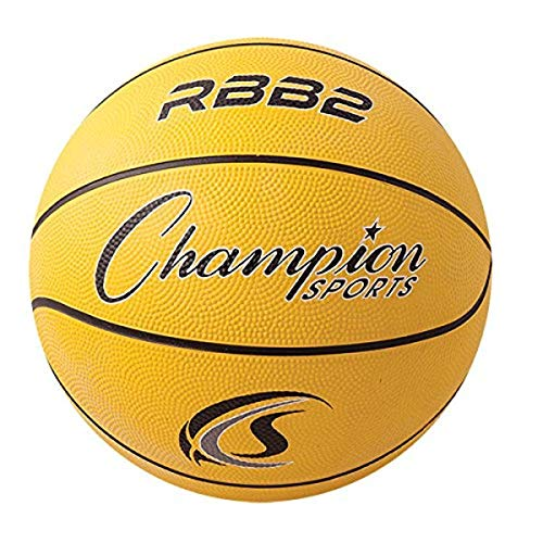 "Champion Sports Official Heavy Duty Rubber Cover Nylon Basketballs, Junior (Size 5 - 27.5""), Yellow"