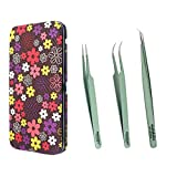 Metaleks 3Pcs Eyelash Extension Tweezers Made In Surgical Stainless Steel With Magnetic Kit. (Light Green Powder Coated 4)