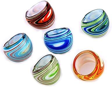 WOVELOT 6 X Anillos de Cristal de Murano 17-19mm de Multi Colores Muy Popular