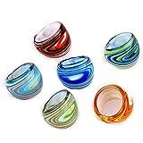 REFURBISHHOUSE 6 X Anillos de Cristal de Murano 17-19mm de Multi Colores Muy Popular