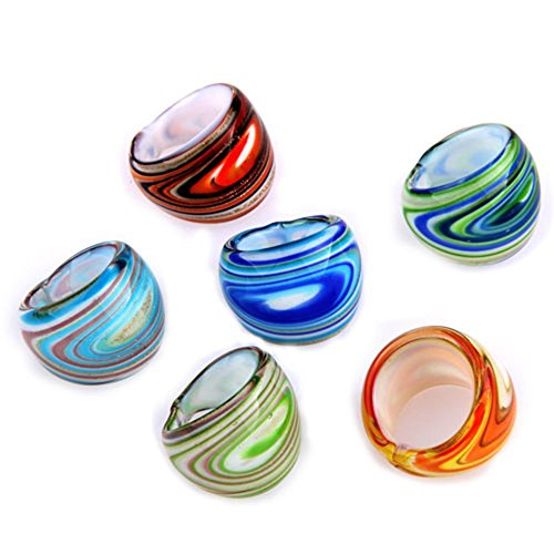 REFURBISHHOUSE 6 X Anillos de Cristal de Murano 17-19mm Popular