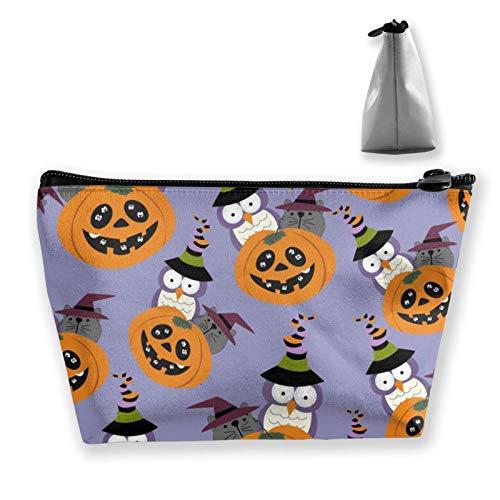 wenxiupin Halloween Cartoon Cute Owl Pumpkin Women Make Up Bag Organizer Multi-Purpose Cosmetic Train Case Fashion Pumpkin Black Cats Bats