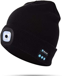 JSX 4Led Light Head Lamp Bluetooth Hat, Headphones Music Play USB Charging Warm Cap Outdoor Hat