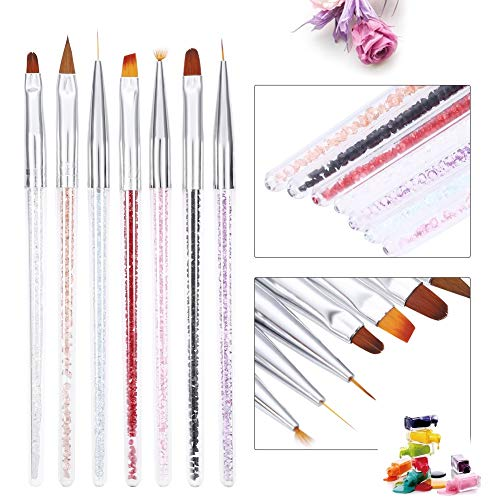 Ruiqas 7 Pcs Nail Art Brush Set Peinture À Ongles UV Gel Gel Extension Extension Sculpture Doublure Fleur Dessin Stylo
