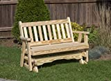 Amish Heavy Duty 800 Lb Mission Pressure Treated Porch Patio Garden Lawn Outdoor Glider-4 Feet-Natural-Made in USA