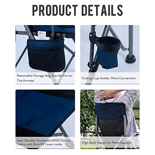 Homcosan Portable Camping Chair Folding Quad Outdoor Large Heavy Duty Support 330 lbs Thicken 600D Oxford with Padded Armrests, Storage Bag, Beverage Holder, Carry Bag for Outside(Blue)