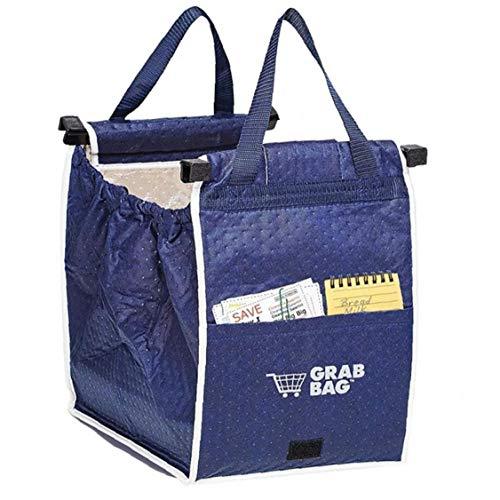 Froiny Bolsas De Almacenamiento Reutilizable Grande De La Carretilla-Clip para La Compra De Comestibles Supermercado Compras Bolsa Portátil Plegable Azul Bolsos De Mano