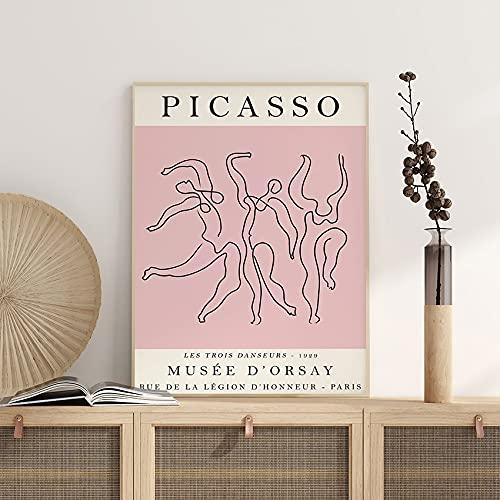 Cartel de exposición de Picasso, danza, arte retro, dibujo lineal, impresión de arte, arte de dormitorio, lienzo decorativo sin marco Q-78 50x75cm