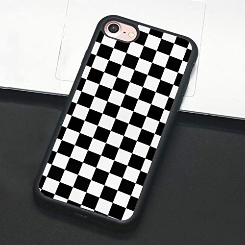 Checkerboard Phone Case Compatible with iPhone 11 Pro Max XS XR X 7 8 Plus 6 6s 5 5s Hard Cover Grid Lattice Plaid Tartan Damier Chessboard Checker Flag (Compatible with iPhone 7/8, 1)