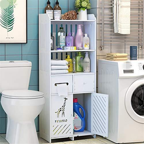 YAzNdom Estanteria sobre Inodoro WC Baño Independiente Armario de Almacenamiento del gabinete de Almacenamiento Impermeable Decorativo Estante Blanco Organizador Apto para Baño