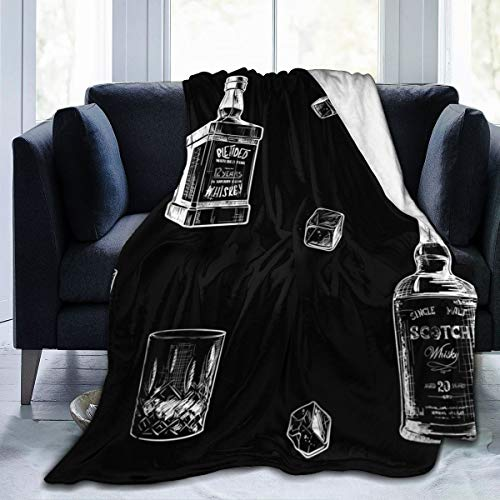 REMEE Flannel Fleece Throw Blanket,Ingredients for The Best Whiskey Taste. Bottles, Classes and Ice Cubes. Seamless Warm Cozy Perfect Throw for All Seasons for Couch Bed Sofa 80''X60''