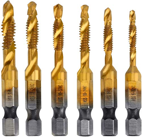 Bestcool 6Pcs Drill Bit Set 1/4 Inch Hex Shank Tap Drill Bit Set M3 M4 M5 M6 M8 M10 Tap Drill Bit Titanium Plated Metric & Inch Tap Drill for Drilling Tapping and Chamfering