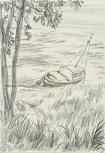 H. W. Fichter Kunsthandel H.WINGLER (*1896), Haffstrand auf Sylt mit Segelboot, 1959, Bleistiftzeichnung