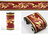 Borde del papel pintado hojas rojas Auto Adhesivo del Papel Pintado del PVC Cenefa autoadhesiva para decoración de pared de cocina baño 10 cm X 900 cm