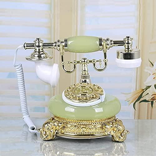 Decorativo Teléfono Adornos Regalo Para Decoración Inicio Teléfono Por cable Teléfono Retro Europeo Antiguo Teléfono Moda Casa Creativa Hogar Línea Línea Mano Decoración Decoración Rotar Dial Amarillo