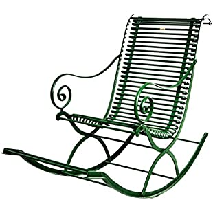 Customer reviews Casa-Padrino Wrought Iron Garden Rocking Chair 55 x 150 cm - Various Colors - Handmade Garden Furniture, Color vintage red:Eventmanager