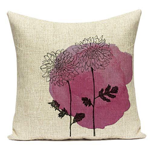 Fundas de Cojín Funda de Almohada Decorativa de Lino de algodón Colorido Rosa Rojo púrpura Flores Animales Almohada Funda de cojín para sofá hogar Sala de Estar Decorativa Almohada Fundas
