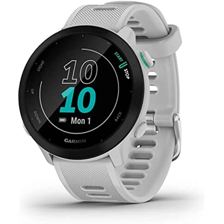 Garmin Forerunner 55, GPS Running Watch with Daily Suggested Workouts, Up to 2 Weeks of Battery Life, White