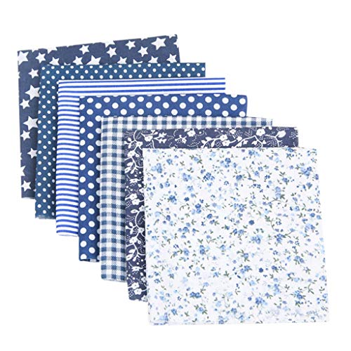 7pcs 19.6x19.6 Inch(50cm X 50cm) Cotton Craft Fabric Sewing Squares Quilting Fabric DIY Precut Cloth Sheets Patchwork Dots, Stars, Strip, Plaid, Flower (Navy)