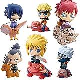 MNZBZ Anime Catoon Naruto 6 Unids/Set Uchiha Sasuke Hatake Kakashi Uzumaki Naruto PVC Figuras de Acc...