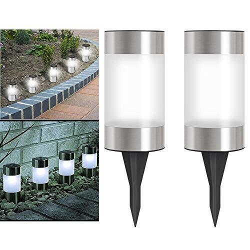 Gartenbeleuchtung 2 Stück Auffahrt Garten Solarleuchten Zylinder LED Nachtlampe Moderne Edelstahl Wasserdicht Outdoor Mini Bodenmontage Home Decor