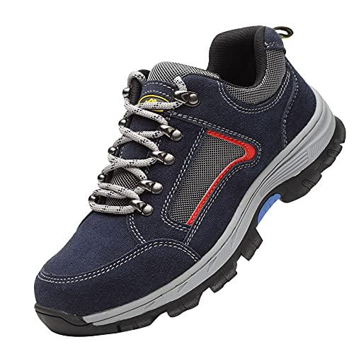 Respirable Punta de Acero Calzado,Seguridad para Hombre con Puntera de Acero Zapatillas de Seguridad Trabajo, Calzado de Industrial y Deportiva,Blue▁45