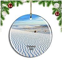 テュラローサホワイトサンズ国定公園ニューメキシコ米国クリスマスデコレーションオーナメントクリスマスツリーペンダントデコレーションシティトラベルお土産コレクション磁器2.85インチ