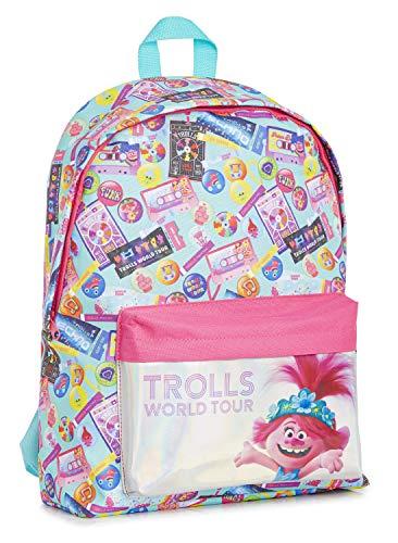 Trolls Rucksack Mädchen, Rucksack Schule, Schulrucksack, Mädchen Kinderrucksack, Holografisch Schulranzen Kinder mit Poppy Troll, Backpack, Reise & Schule Tasche, Geschenke für Kinder