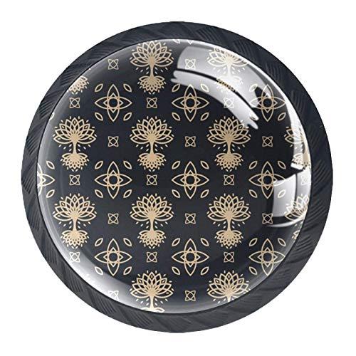 Decorative Cabinet Wardrobe Furniture Door Round Drawer Knobs Pulls Handles Hardware(4 PCS),Celtic Tree