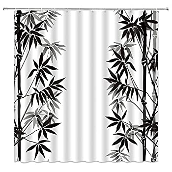 BCNEW Japanese Bamboo Polyester Fabric Shower Curtain Asian Oriental Exotic Ink Plant Bamboo Decor for Bathroom 70 x 70 Inches