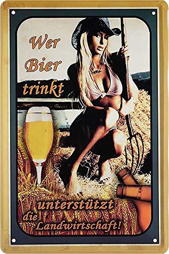 Blechschilder Bier lustiger Spruch WER Bier TRINKT UNTERSTÜTZT DIE Landwirtschaft Deko Schild Bar-Schild Theke 20x30 cm G0007