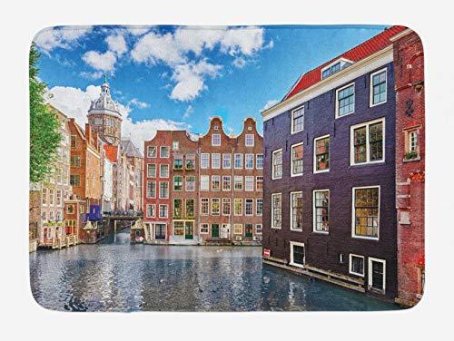 ABAKUHAUS Amsterdam Tappetino da Bagno, edifici Olanda, Vasca Doccia WC Tappeto in Peluche con Supporto Antiscivolo, 45 cm x 75 cm, Multicolore