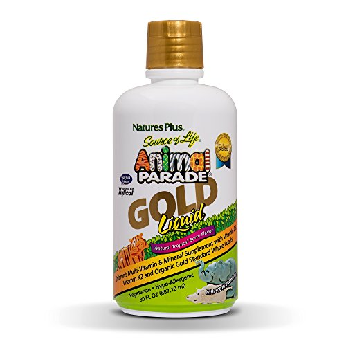 NaturesPlus Animal Parade Source of Life Gold Children's Liquid Multivitamin, Natural Tropical Berry Flavour - Organic Whole Foods, Gluten Free, Vegan, Immune Support Supplement (887ml)