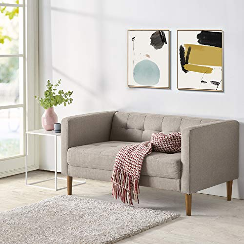 Zinus Pascal Upholstered 54 Inch Sofa Couch / Loveseat, Oatmeal Grey