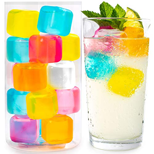 Reusable Ice Cubes For Drinks - Chills Drinks Without Diluting Them - Made From BPA Free Plastic - Refreezable, Washable, Quick And Easy To Use - For All Beverages - Pack Of 20 With Storage Tube (Ice Cubes For Drinks That Don T Melt)