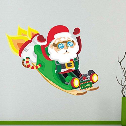 Kerstversiering met Kerstman Zittend de slee Vrolijk Kerstmis Illustratie Sticker Bruiloft Decor Vinyl Waterdichte Muur PVC Sticker Wallpaper Decal Verwijderbaar