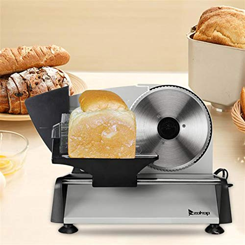 "Meat Slicer Food Slicer Electric Deli Food Cheese Fruit Vegetable Bread Meat Electric Slicer for Commercial and Home Use with Removable 7.5"" Serrated Stainless Steel Blade [US STOCK]"